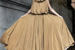 Long Silk Dress with Ruffles